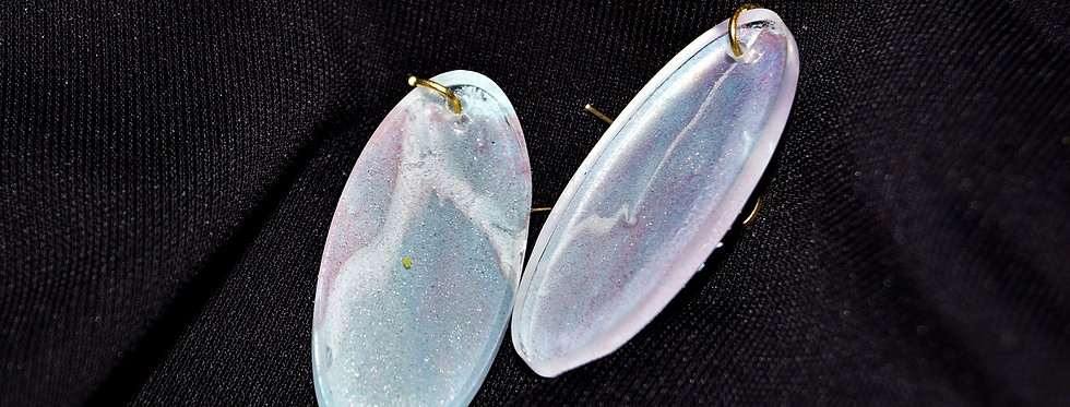 Surfboard style lilac, pink and white Resin Earrings