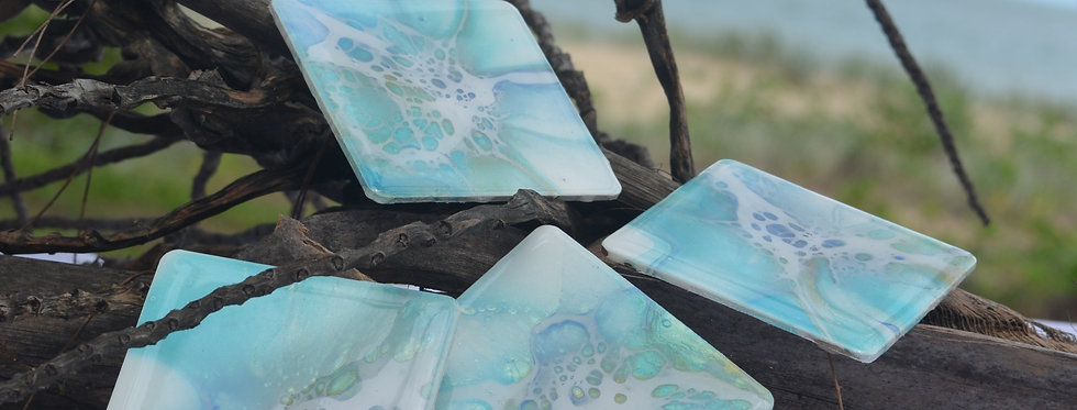 Teal, gold and white Square Coasters