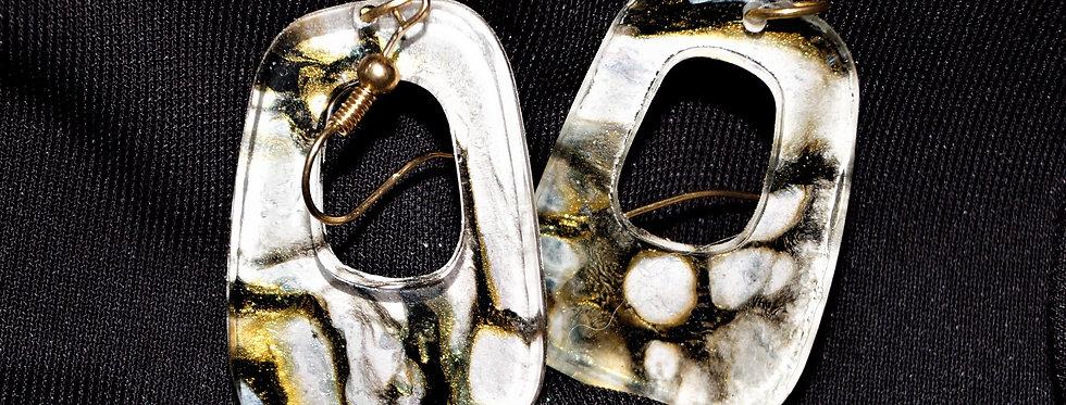 Black, gold and white  Resin Earrings