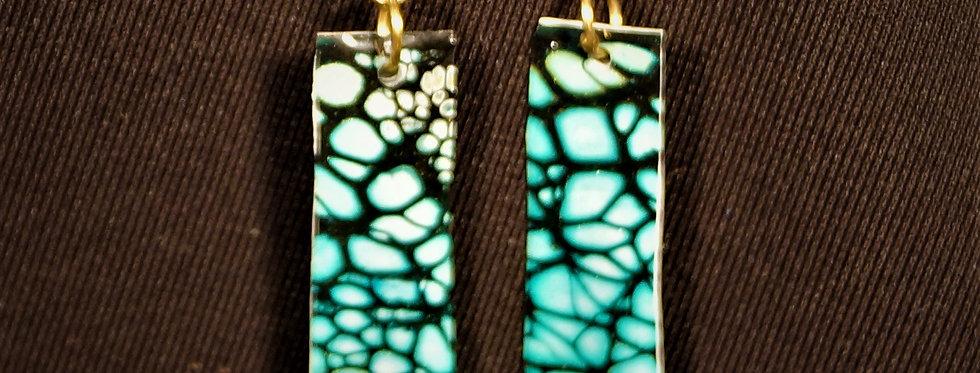 Green White and Black Resin Earrings
