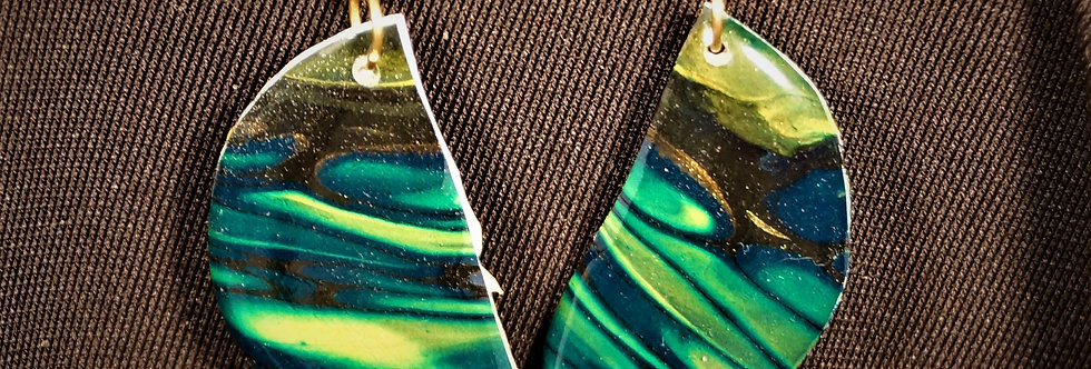 Green, gold, yellow and black Resin Earrings