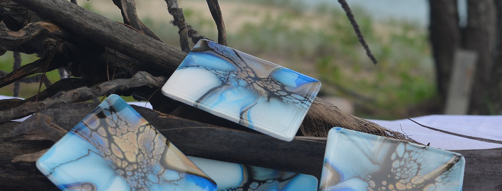 Blue, black, gold and white Square Coasters