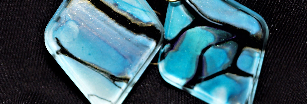 Diamond shape Blue, lilac, gold and black Resin Earrings