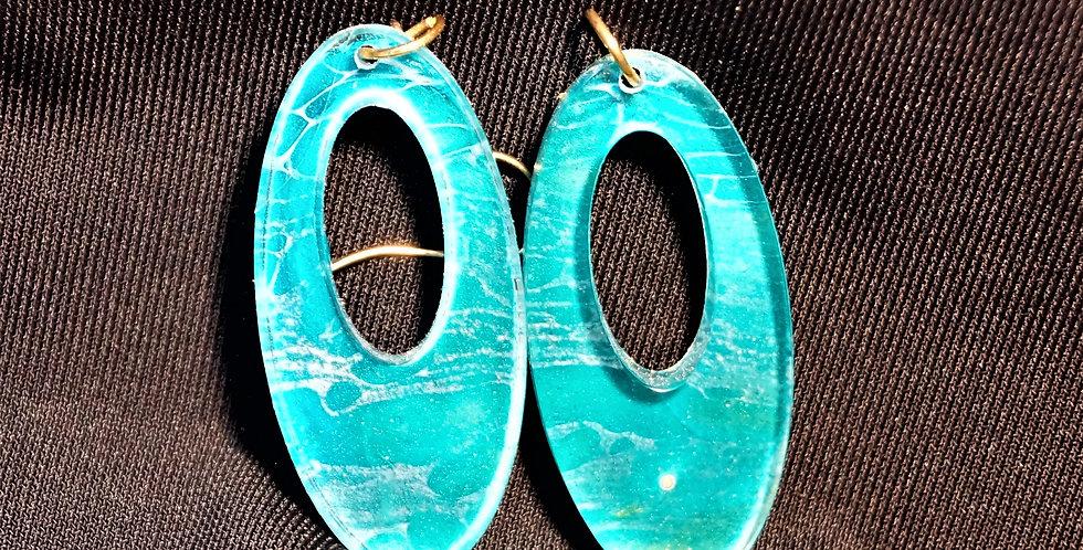 Aqua, gold, and white  Resin Earrings