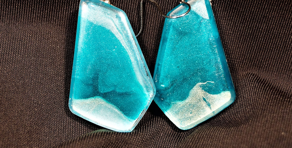 Green, blue, and silver  Resin Earrings