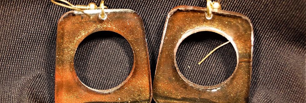 Bronze, black and gold  Resin Earrings