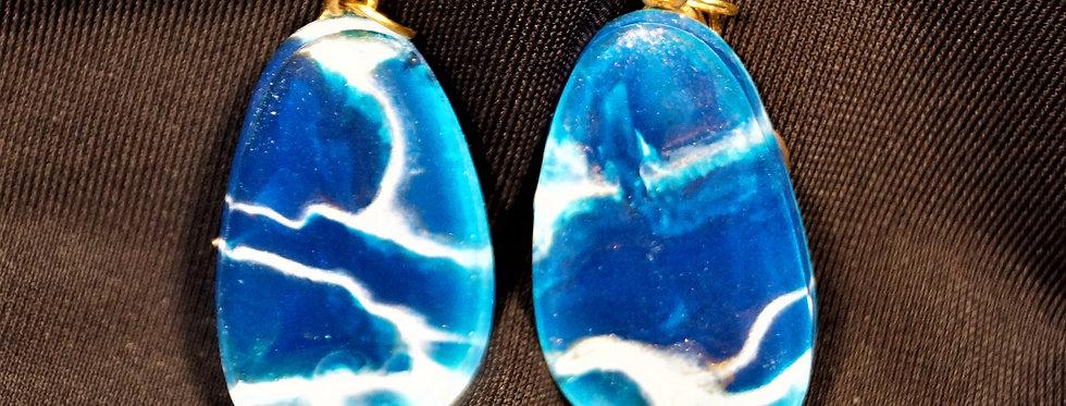 Egg shape Blue, gold and white  Resin Earrings