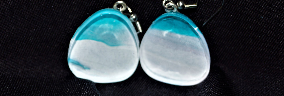 Blue and white Resin Earrings