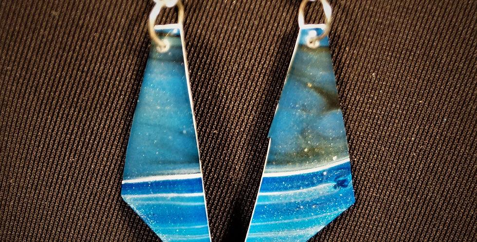 Cobalt blue, light blue, silver, black and white Resin Earrings