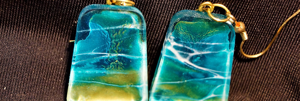 Blue, gold and green Resin Earrings