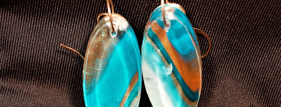 Surfboard style copper, white and blue Resin Earrings
