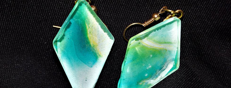Long diamond Aqua, green, gold and white Resin Earrings