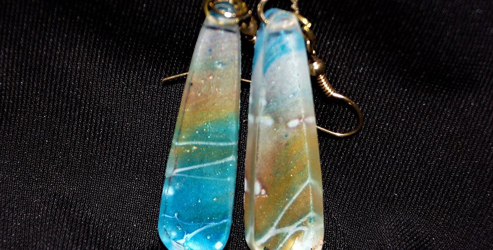 Long dangle Blue, gold, pink, aqua and white Resin Earrings