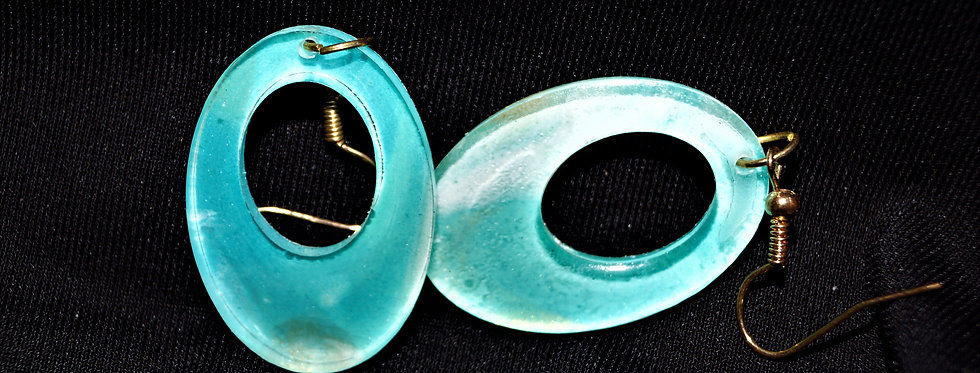 Aqua, gold and white  Resin Earrings
