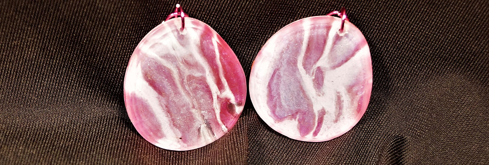 Pink and white  Resin Earrings