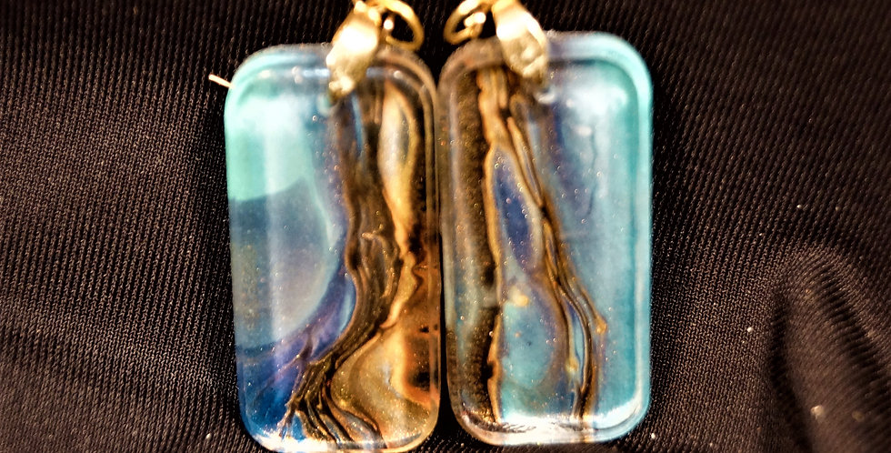 Rectangle shape Blue, teal, black and gold  Resin Earrings