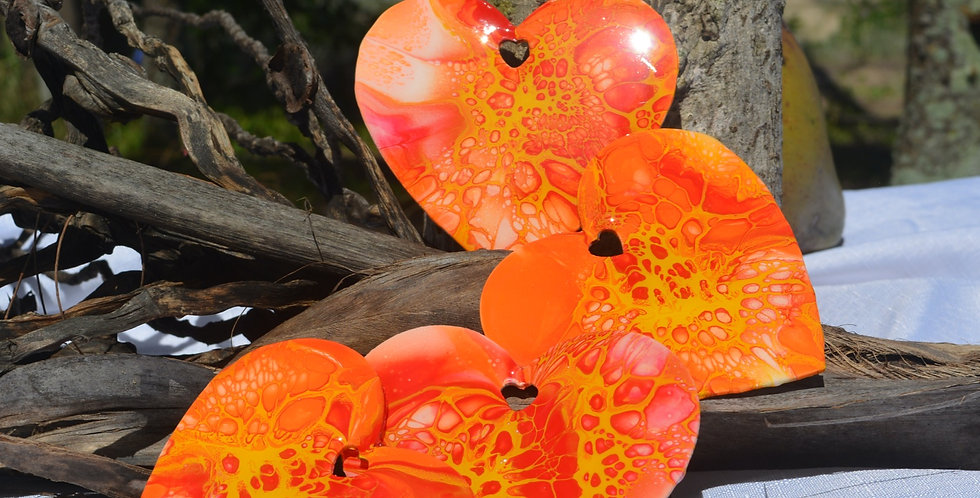 Orange, magenta and yellow Heart Coasters