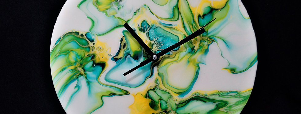 White Green Yellow and Gold Wall Clock