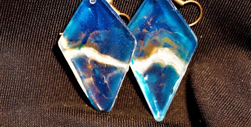 Long diamond Blue, gold and white Resin Earrings