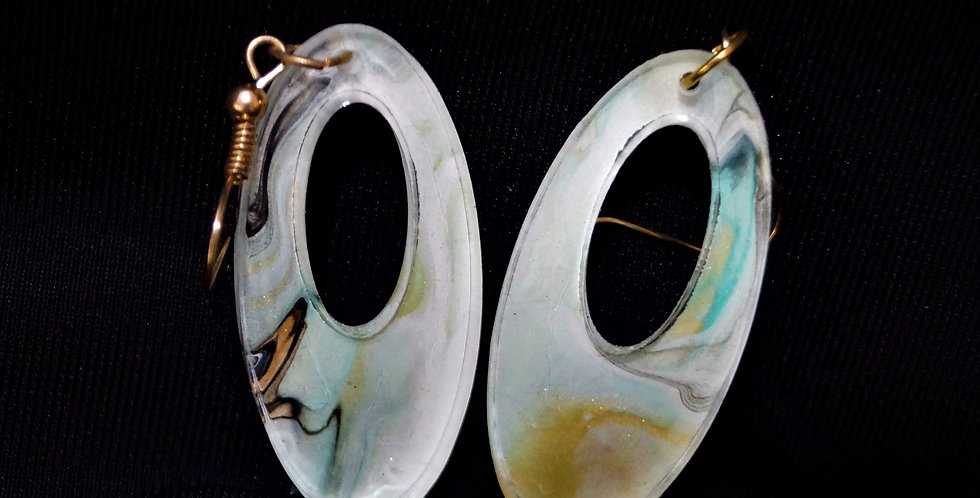 Aqua, gold, brown and white  Resin Earrings