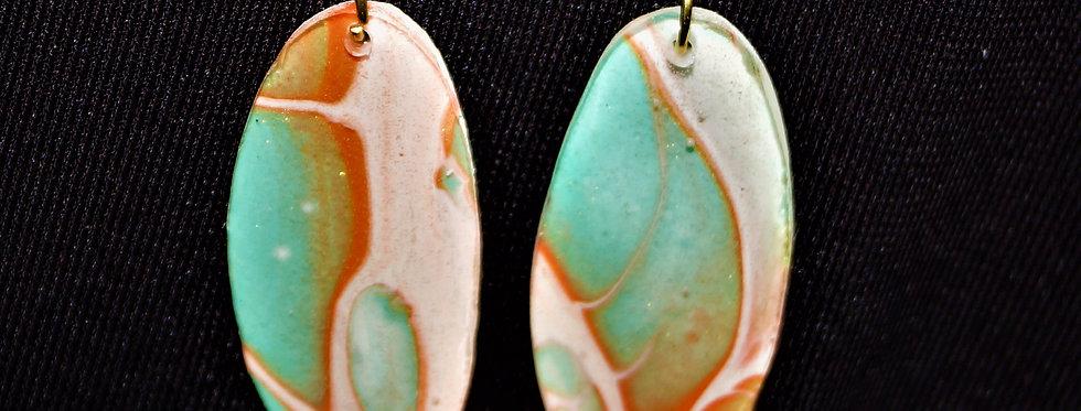Aqua, orange, white and gold Resin Earrings