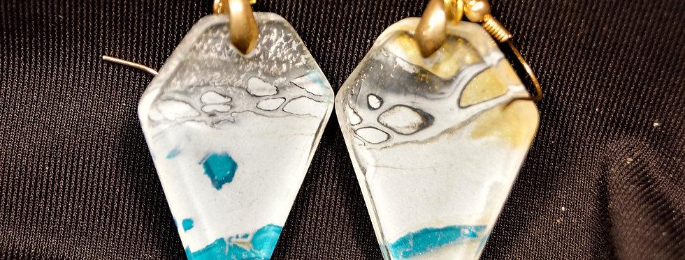Diamond shape Blue, white, gold and black Resin Earrings