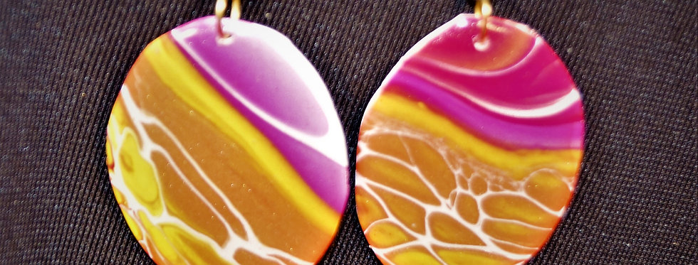 Magenta, white, yellow and gold Resin Earrings