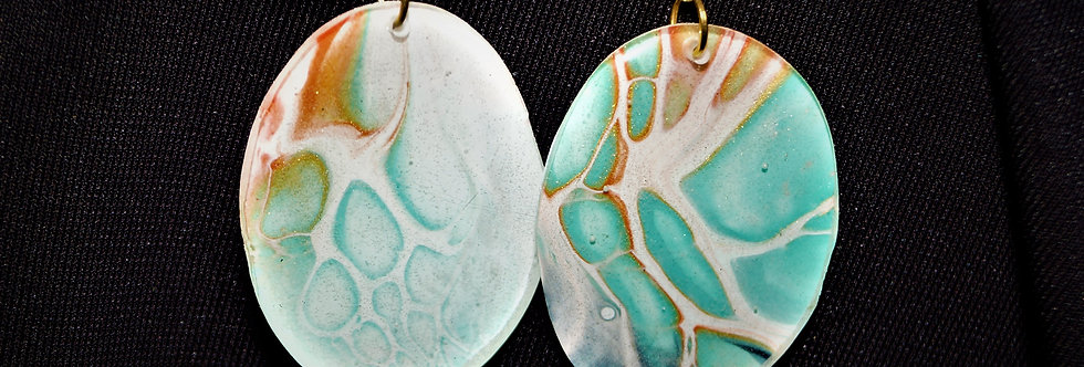 Aqua, orange, white and gold Resin Earrings