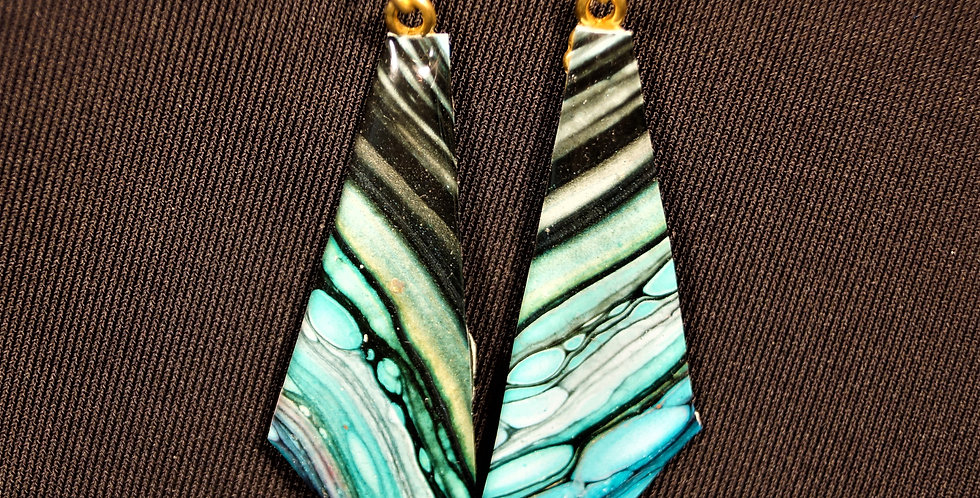 Green, pink, gold, blue and black Resin Earrings