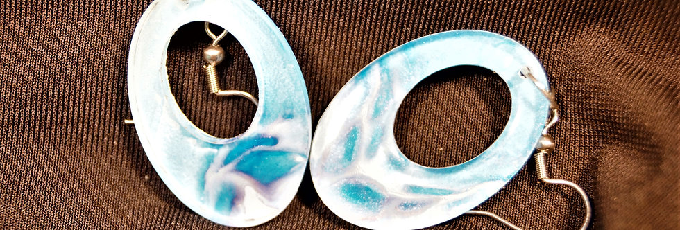 Pink, blue and white  Resin Earrings