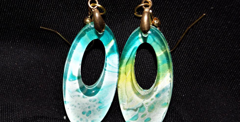 Aqua, gold, yellow and white  Resin Earrings