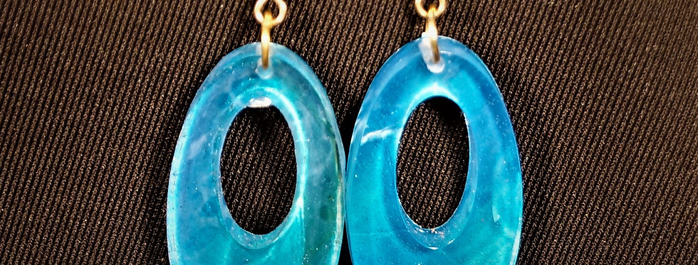 Aqua,blue, gold, and white  Resin Earrings