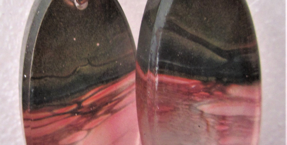 Surfboard style pink and bronze Resin Earrings