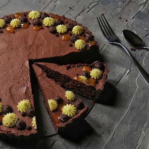 Chocolate passion fruit tart