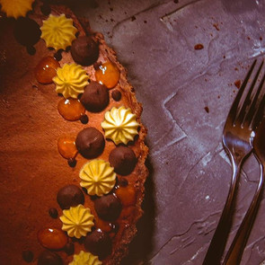Passion fruit and chocolate tart