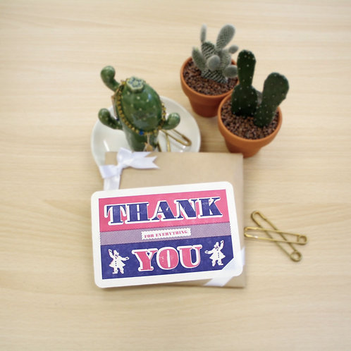 Letterpress Greeting Card / Thank You