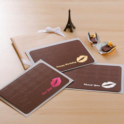 Letterpress Greeting Card  /  Chocolate Kiss Mark