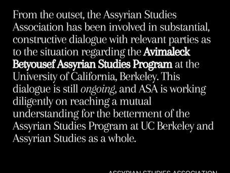 A Statement from the Assyrian Studies Association's Board of Directors