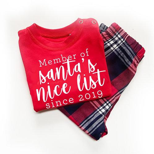 Member of Santa's Nice List  - Personalised Christmas - Tartan Pyjama Sets
