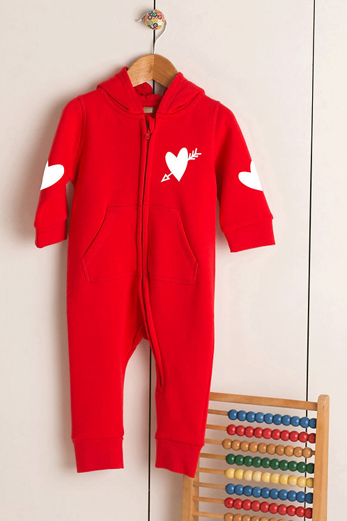 Personalised Name - Valentines Heart - Baby Romper w/Ears and Front Pouch