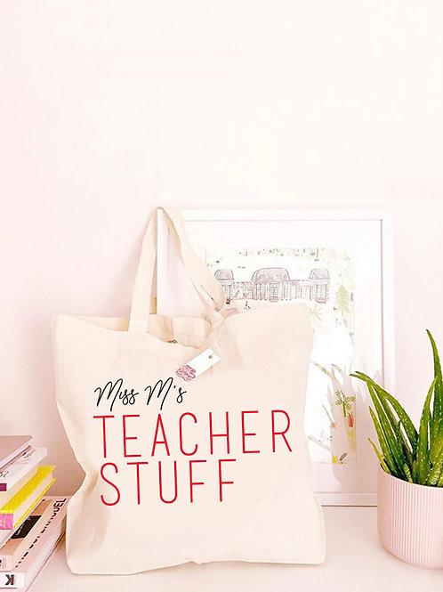Personalised Teacher Tote Bag - Large Canvas Tote Bag