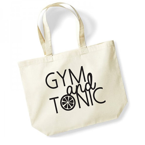 Gym and Tonic - Large Canvas Tote Bag - Natural