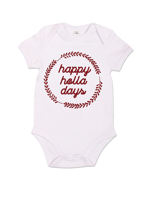 Happy Holla Days - Babygrow - White