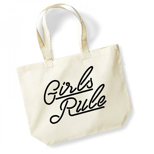 Girls Rule - Large Canvas Tote Bag