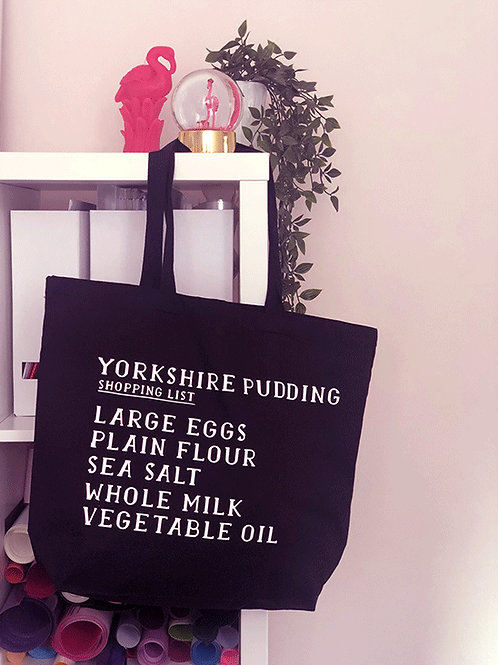 Yorkshire Pudding- Shopping List - Large Canvas Tote Bag