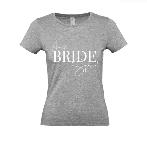 Bride Squad - Fully Personalised Name (Front & Back) - Unisex Fit T-Shirt