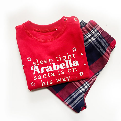 Sleep Tight - Personalised Christmas - Tartan Pyjama Sets