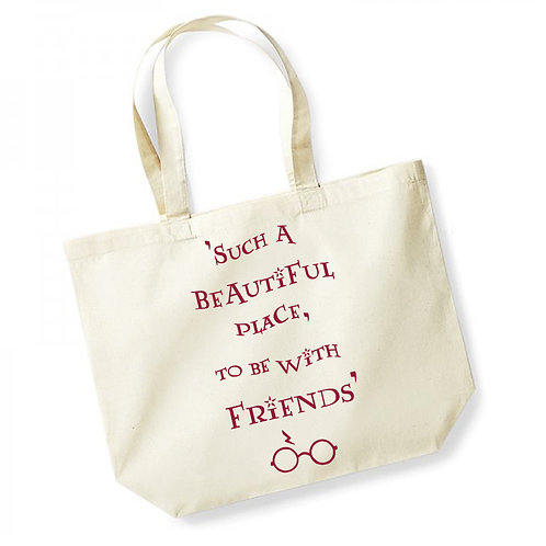 Such A Beautiful Place To Be With Friends - Large Canvas Tote Bag