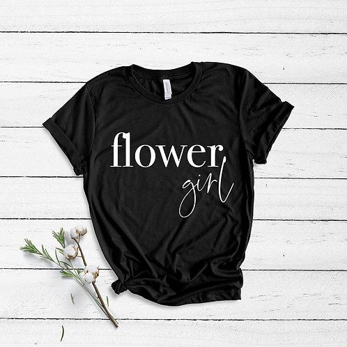 Flower Girl - Kids Sizes - Semi Personalised - (Name on Back) - Unisex Fit T-