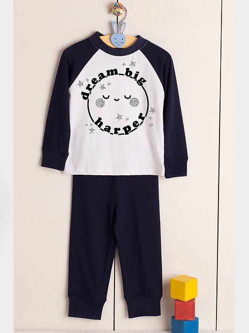 Dream Big - Personalised Name - Plain Pyjama Sets